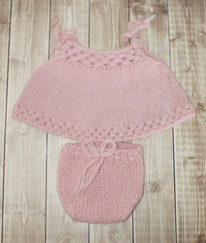 Newborn Swing Top and Bloomers - Soft Pink Alpaca - Ready to Ship - Newborn Photo Props for Girls - Knit Photography Props by Double the Stitches