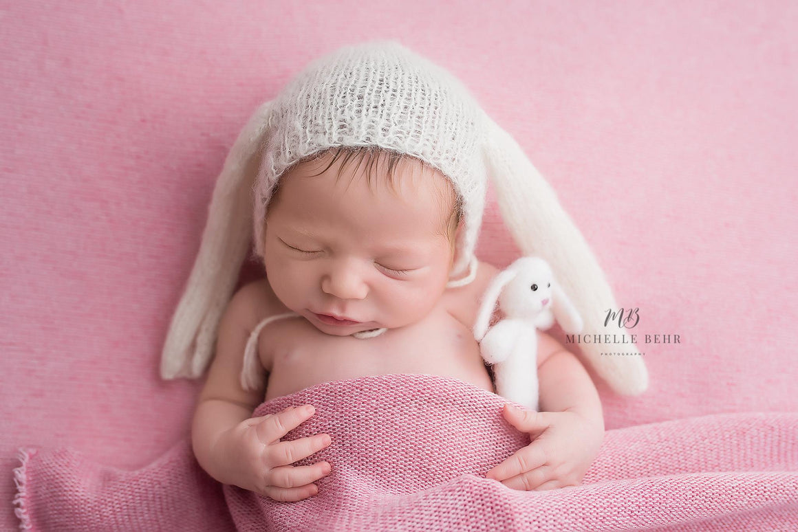 Mohair Bunny Bonnet Photo Prop - Newborn or Sitter Sizes - Knit Photography Props by Double the Stitches