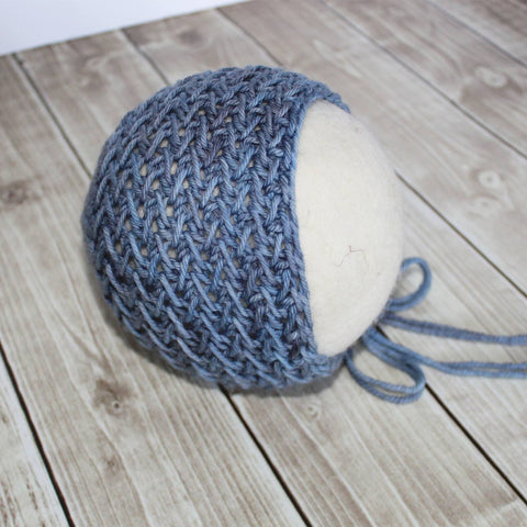 Textured Bonnet - Denim Blue Merino - Ready to Ship Newborn Boy Photo Props - Knit Photography Props by Double the Stitches