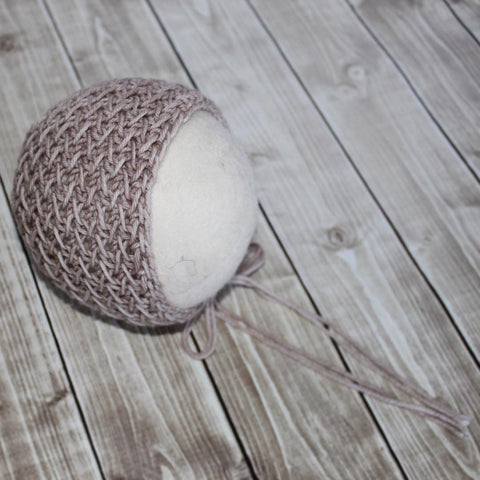 Neutral Textured Bonnet - Taupe Merino - Ready to Ship Newborn Props - Knit Photography Props by Double the Stitches