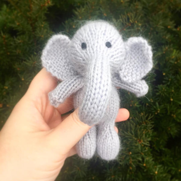Angora Elephant Stuffie - Stuffed Elephant Prop - Newborn Photo Prop - Knit Photography Props by Double the Stitches