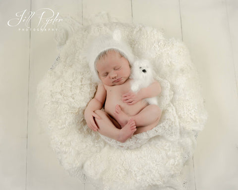 Fuzzy Angora Bear and Bonnet Newborn Photography Prop Set - Knit Photography Props by Double the Stitches
