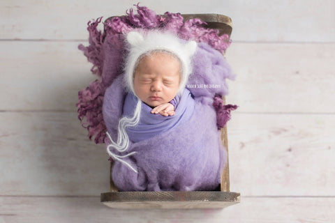 French Angora Teddy Bear Bonnet Newborn Photography Prop - 35 Colors
