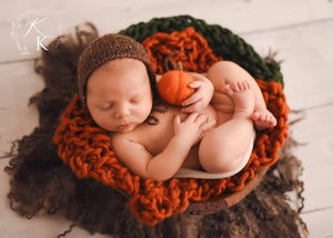 Felted Pumpkin Prop - Newborn Photo Prop - Knit Photography Props by Double the Stitches