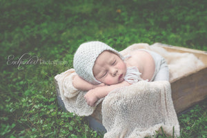 Neutral Textured Bonnet - Ivory Merino - Newborn Props - Knit Photography Props by Double the Stitches