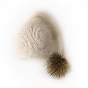 Angora Sleepy Cap with Long Tail and Pom Pom - Newborn Photography Prop - Knit Photography Props by Double the Stitches