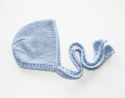Knitted Ties Newborn Bonnet - Baby Blue - Knit Photography Props by Double the Stitches