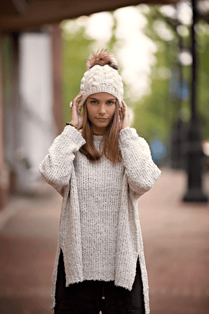 Braided Cable Beanie with Pom Pom - Knit Photography Props by Double the Stitches