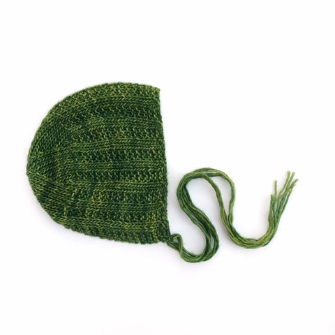 Green Broken Rib Newborn Bonnet Photography Prop - Ready to Ship - Knit Photography Props by Double the Stitches