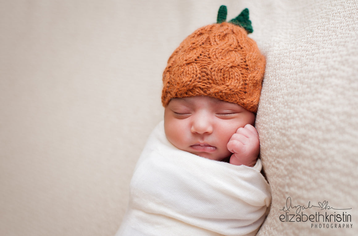 Newborn Pumpkin Hat with Cables - Halloween Photography Prop - Knit Photography Props by Double the Stitches