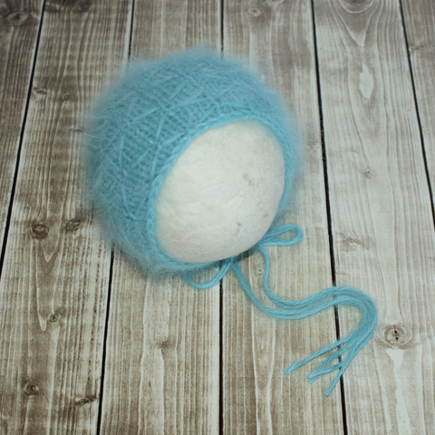 Angora Dashing Bonnet - Ready to Ship - Newborn Photography Props - Knit Photography Props by Double the Stitches