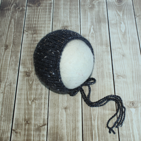 Black Tweed Bonnet - Ready to Ship - Newborn Photography Props - Knit Photography Props by Double the Stitches