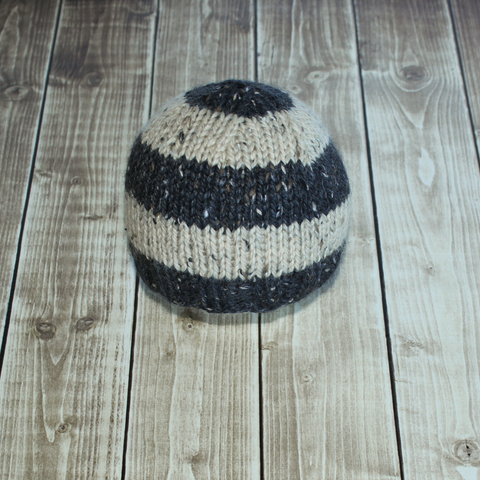Tweed Stripe Beanie - Black and Cream - Ready to Ship - Newborn Photo Prop - Knit Photography Props by Double the Stitches