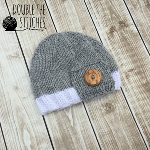 The Button Beanie - Newborn Photography Prop - Knit Photography Props by Double the Stitches