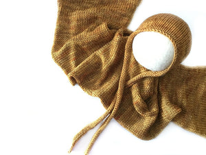 Golden Mustard Knitted Ties Bonnet and Wrap Set - Ready to Ship - Knit Photography Props by Double the Stitches