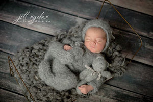 Fluffy Grey Newborn Long Sleeve Footed Romper Jammies Photography Prop - Knit Photography Props by Double the Stitches