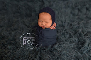 Navy Blue Mohair Bonnet - Newborn Photo Prop - Knit Photography Props by Double the Stitches