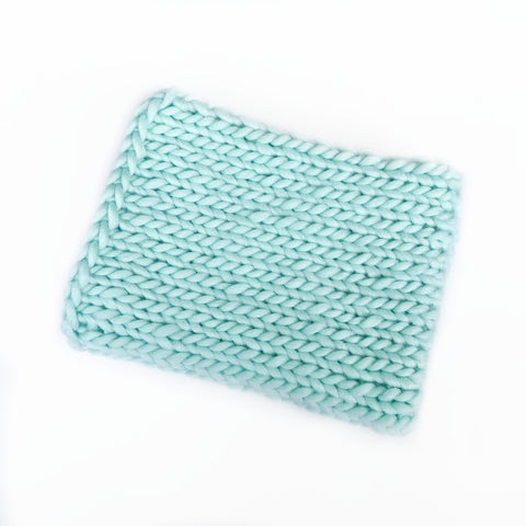 Mint Woolen Blanket - Newborn Photo Prop - Knit Photography Props by Double the Stitches