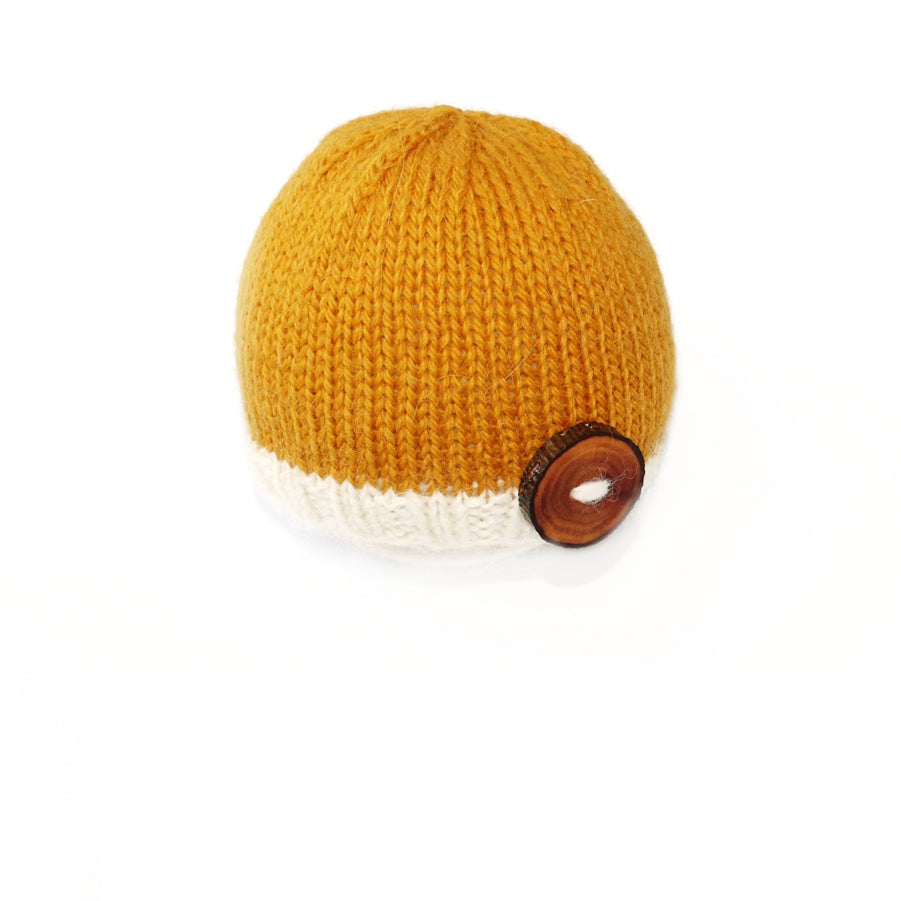 Mustard Button Beanie Newborn Photography Prop - Ready to Ship - Knit Photography Props by Double the Stitches