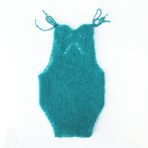 Teal Mohair Newborn Romper - Knit Photography Props by Double the Stitches