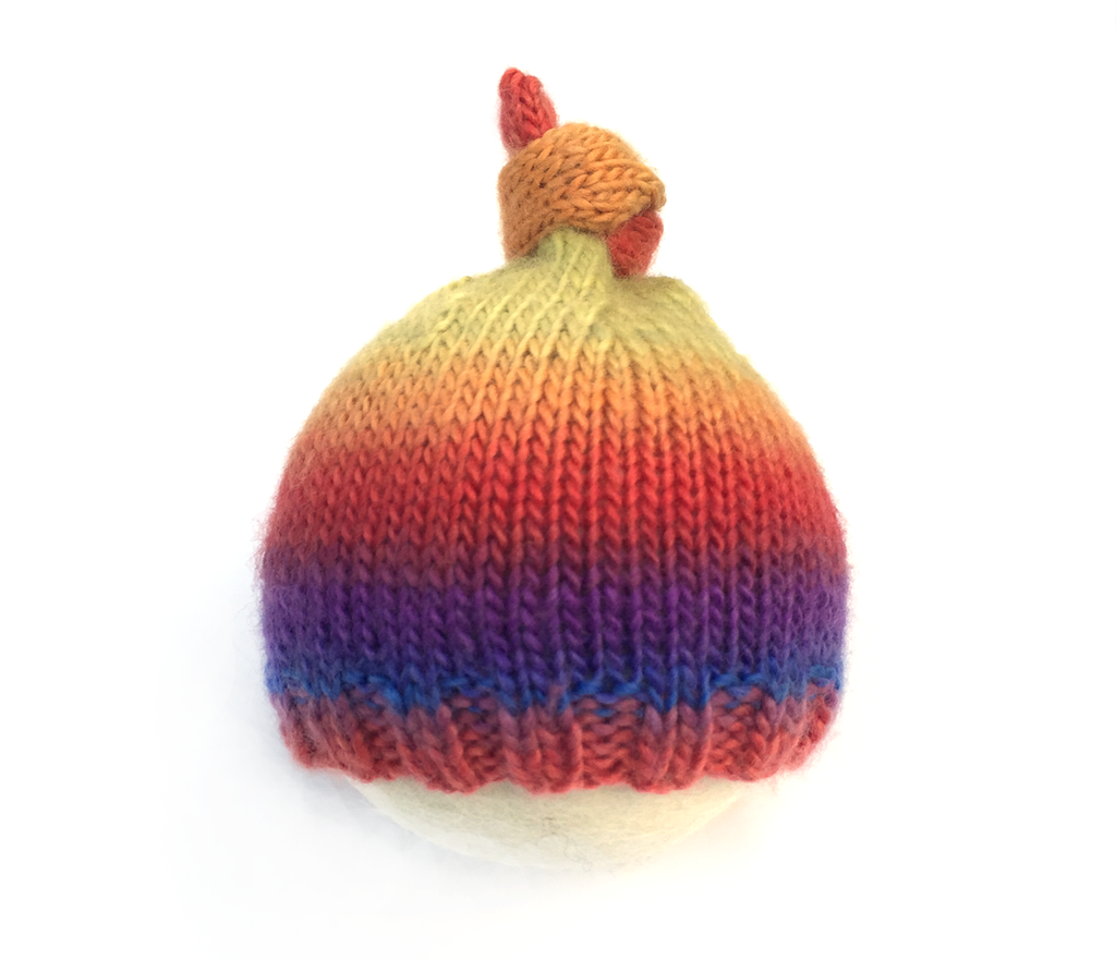 Rainbow Baby Top Knot Hat - Knit Photography Props by Double the Stitches