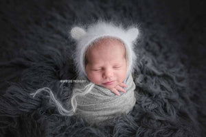 French Angora Teddy Bear Bonnet Newborn Photography Prop - 41 Colors - Knit Photography Props by Double the Stitches