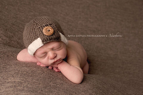 The Button Beanie - Newborn Photography Prop