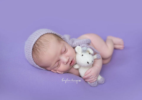 Knit Unicorn Stuffie - Newborn Photo Prop - Knit Photography Props by Double the Stitches