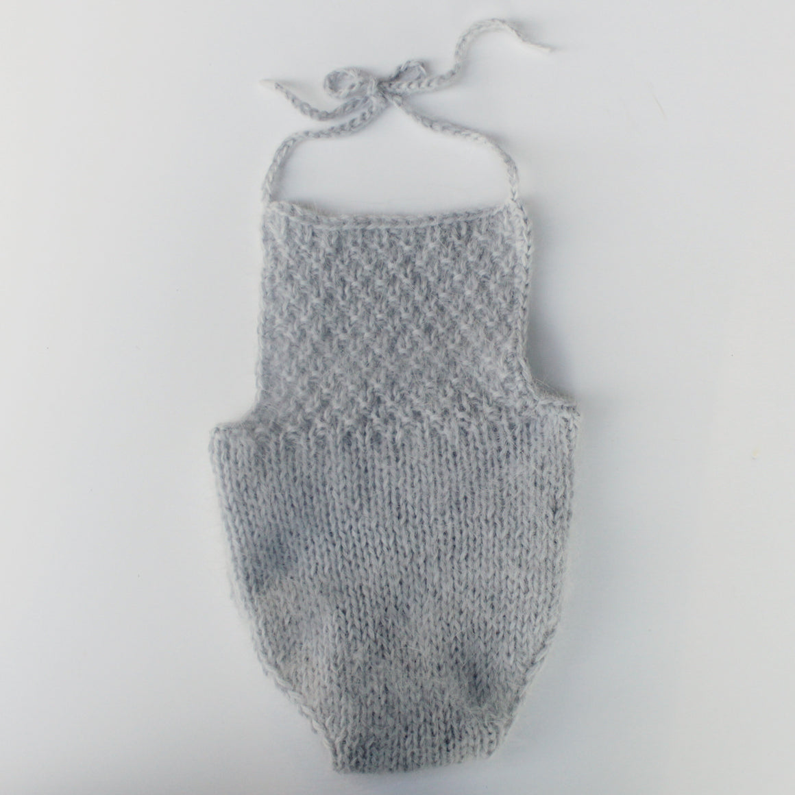 Pearl Grey Angora Romper - Newborn - Ready to Ship - Knit Photography Props by Double the Stitches