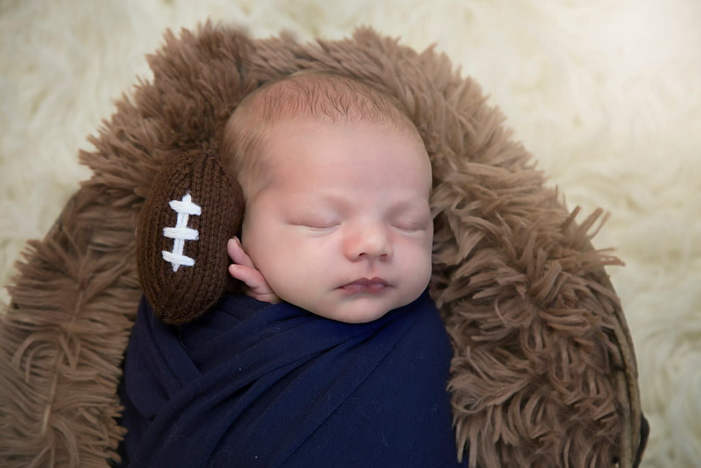 Knit Mini Football Newborn Photography Prop - Knit Photography Props by Double the Stitches