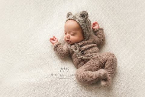 Newborn Long Sleeve Footed Romper Pajamas Photography Prop in Light Brown by Double the Stitches