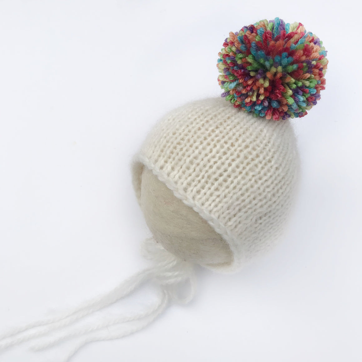 Rainbow Pom Pom Pixie Bonnet - Knit Photography Props by Double the Stitches