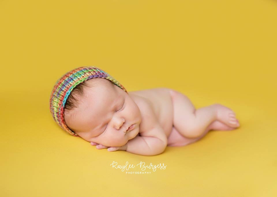 Rainbow Baby Bonnet - Ready to Ship - Newborn Photo Prop - Knit Photography Props by Double the Stitches