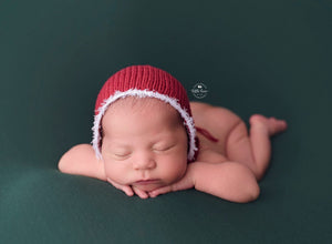 Newborn Claus Bonnet with Fringe - Knit Photography Props by Double the Stitches