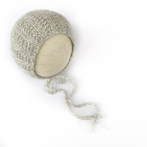 Grey Marble Alpaca Broken Rib Newborn Bonnet - Knit Photography Props by Double the Stitches
