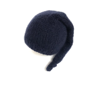 Navy Blue Alpaca Newborn Sleepy Hat - Knit Photography Props by Double the Stitches