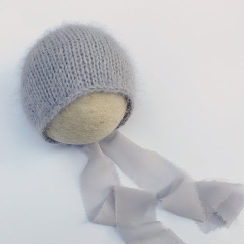 Grey Angora Newborn Bonnet with Chiffon Ties - Ready to Ship - Knit Photography Props by Double the Stitches