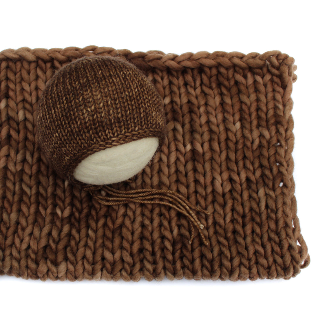 Chocolate Hand Dyed Merino Newborn Bonnet & Layer - Knit Photography Props by Double the Stitches