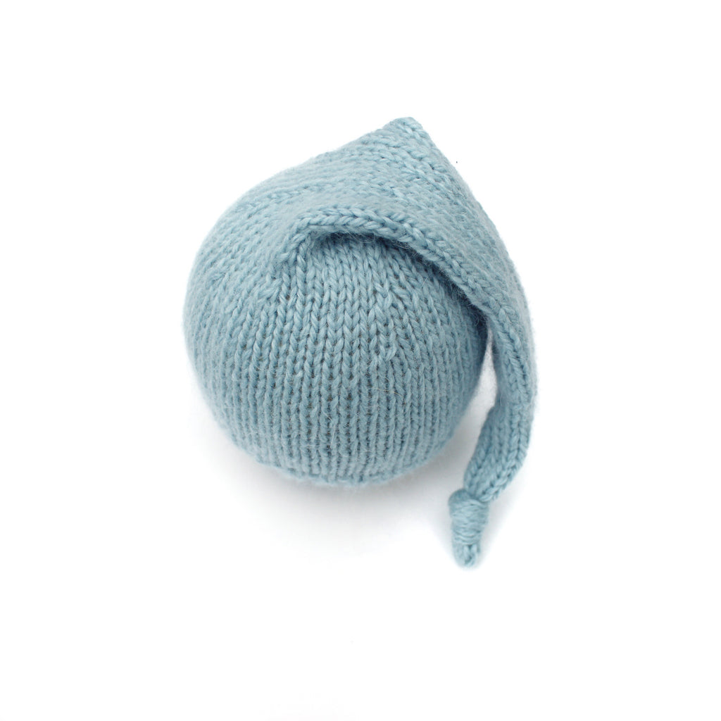 Blue Angora Merino Newborn Sleepy Hat - Knit Photography Props by Double the Stitches