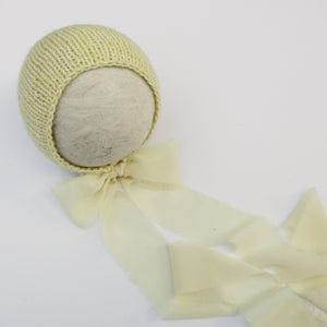 Yellow Cotton Blend Newborn Bonnet with Chiffon Ties - Ready to Ship - Knit Photography Props by Double the Stitches