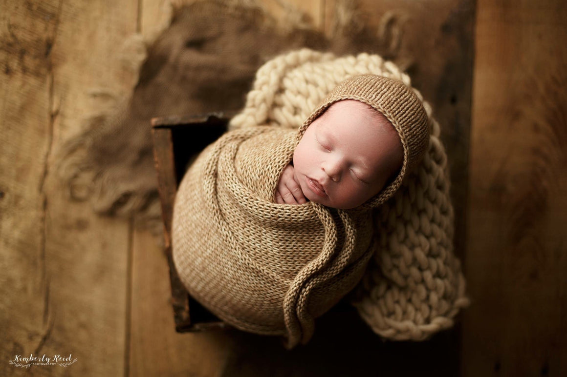 Knitted Ties Newborn Bonnet and Wrap Sets - Photography Props - Knit Photography Props by Double the Stitches