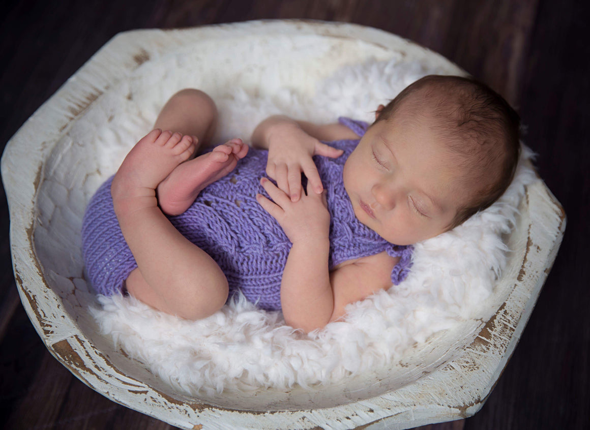 Delaney Newborn Romper - Knit Photography Props by Double the Stitches