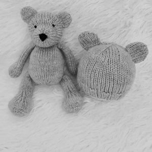 Stuffed Bear and Bear Beanie Set - Newborn Photo Prop - Knit Photography Props by Double the Stitches