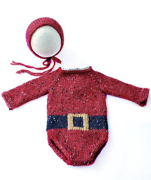 Newborn Tweed Santa Romper - Knit Photography Props by Double the Stitches