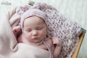 Mauve Vintage Lace Bonnet and Bump Blanket Set - Newborn Photography Prop - Ready to Ship - Knit Photography Props by Double the Stitches
