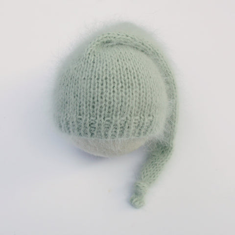 Romarin Angora Newborn Sleepy Hat - Ready to Ship - Knit Photography Props by Double the Stitches