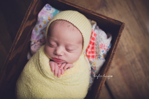 Props for Newborn Photography - Pastel Yellow Merino Newborn Bonnet - Knit Photography Props by Double the Stitches