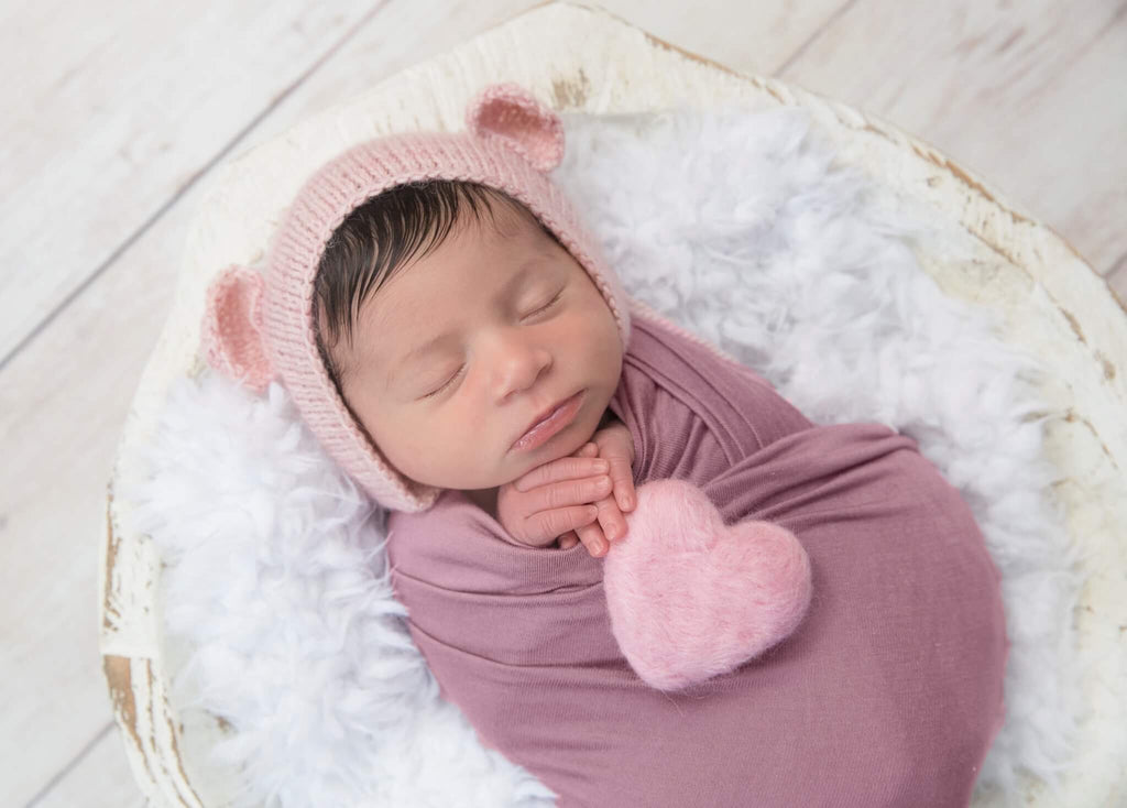 Pink Alpaca Bear Newborn Bonnet - Knit Photography Props by Double the Stitches