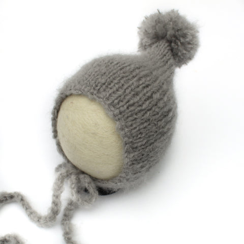 Grey Pom Pom Pixie Newborn Bonnet - Knit Photography Props by Double the Stitches