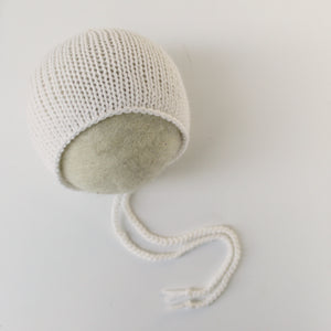 White Cashmerino Essential Bonnet - Newborn - Ready to Ship - Knit Photography Props by Double the Stitches